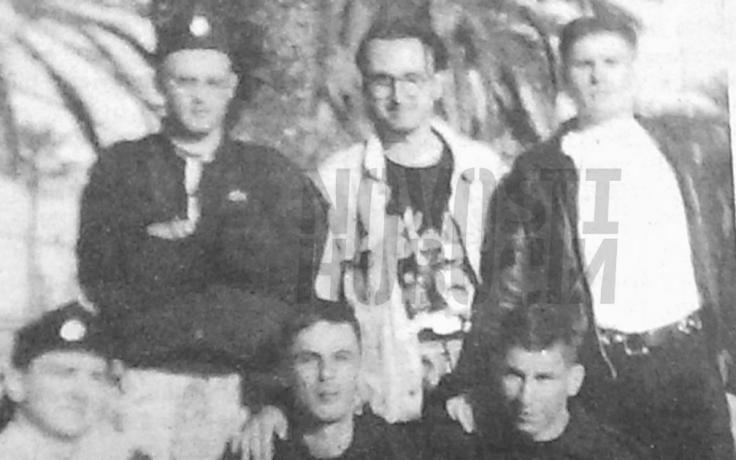 Zlatko Hasanbegović (2nd row, standing, left) wearing what looks like a Ustaša cap. Photo: (c) Novosti