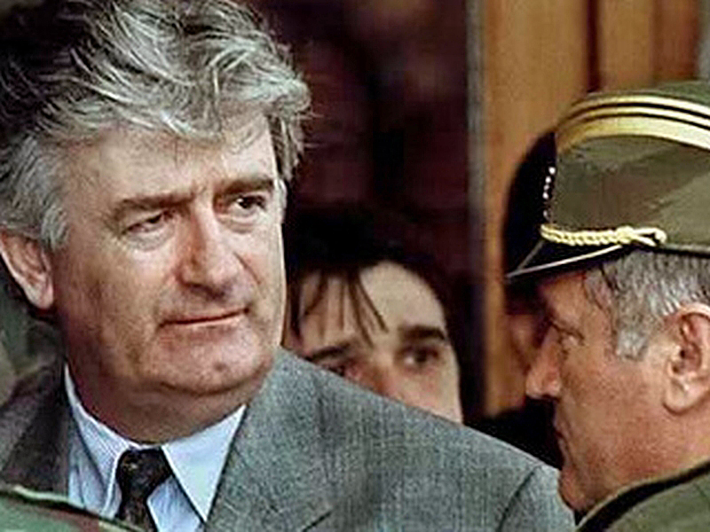 Radovan ‪Karadžić and Ratko Mladić, who is also indicted for war crimes and genocide, during the Yugoslav war. Photo: AP, obtained at flickr.com by The Advocacy Project under CC license CC BY-NC-ND 2.0