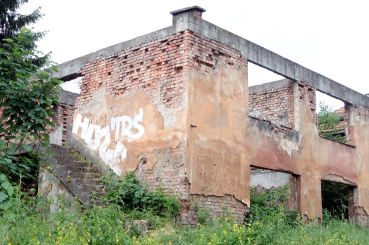 Eine Ruine in Grbavica, Sarajevo.