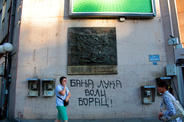 A not so sophisticated graffiti on Trg Krajine, the city's main square.