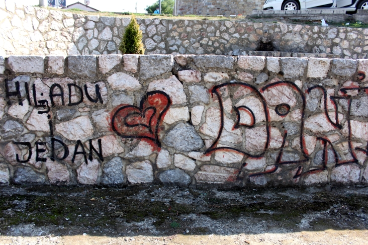 1000 und 1 Tag bedeutet dieses Graffiti, das leider nicht in der gesamten Breite am Bild Platz hatte.