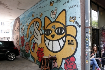 Der Künstler ist Franzose und nennt sich Monsieur Le Chat. Katzen sind sein Markenzeichen. Fotografiert in Prishtina und Sarajevo.